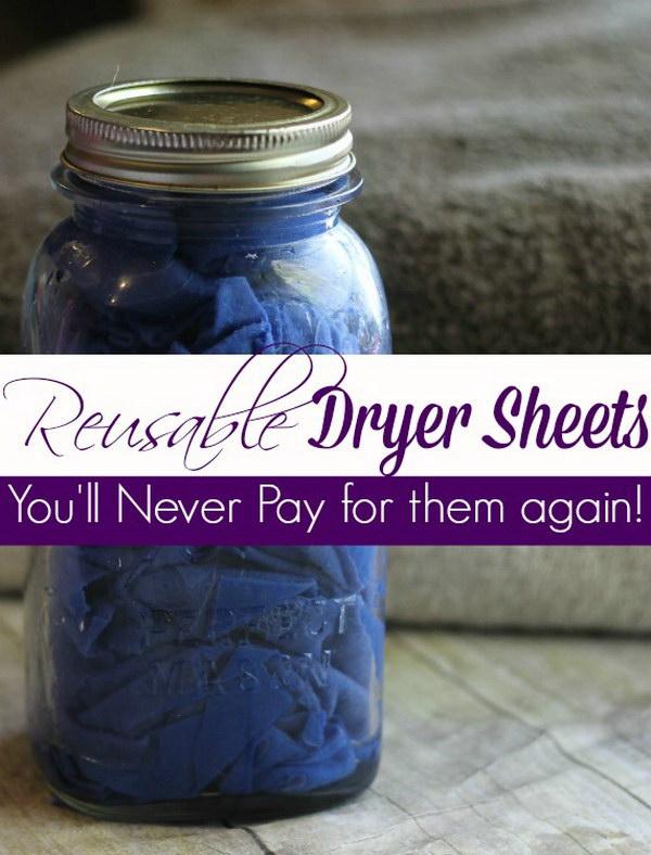 DIY Reusable Fabric Softener Sheets.