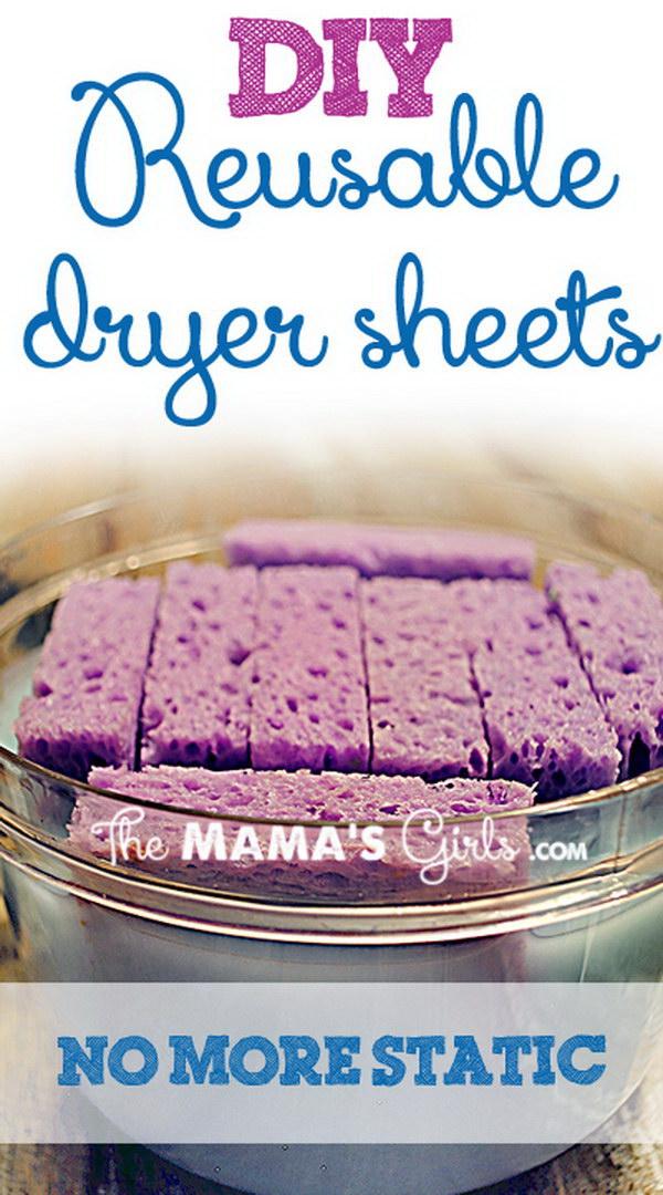 DIY Reusable Sponge Dryer Sheets with Fabric Softener.