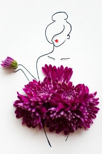 Clever Floral Fashion Sketch.