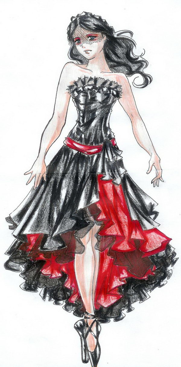 Black and Red Dress Fashion Sketch.