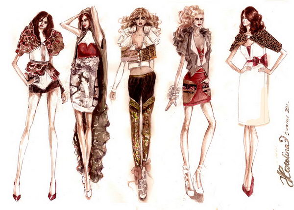 Summer Fashion Sketches Collection.