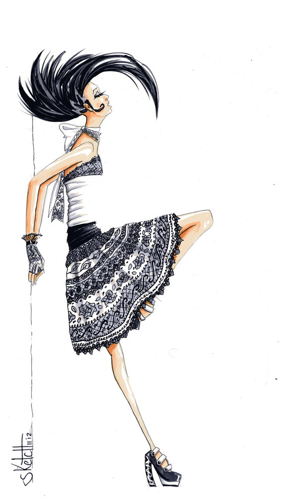 Skirt Fashion Sketch.