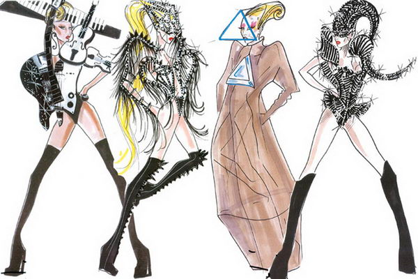 Lady Gaga Wearing Armani Sketches.