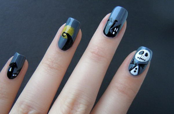 Nightmare Inspired Nails. Cool Halloween Nail Art which show off your spooky spirit during the freakish festivities.