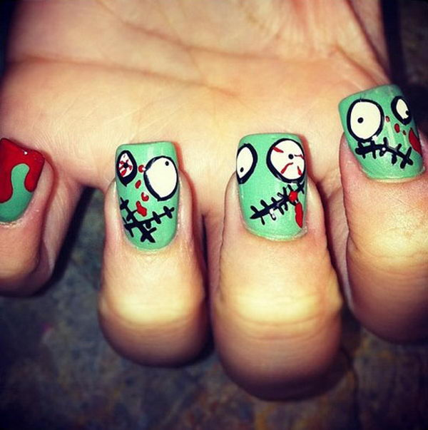 Zombie. Cool Halloween Nail Art which show off your spooky spirit during the freakish festivities.