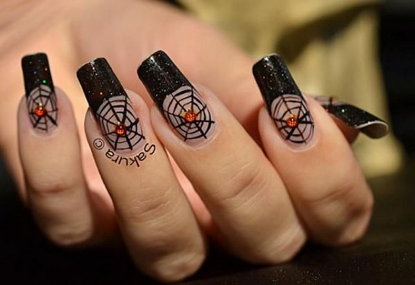 Spider Nail. Cool Halloween Nail Art which show off your spooky spirit during the freakish festivities.