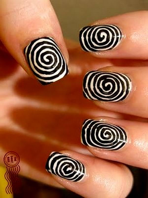 Tim Burton Inspired Halloween Nail. Cool Halloween Nail Art which show off your spooky spirit during the freakish festivities.