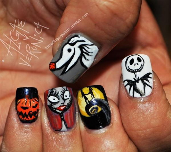 The Nightmare Before Christmas. Cool Halloween Nail Art which show off your spooky spirit during the freakish festivities.