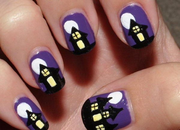 Spooky Haunted House. Cool Halloween Nail Art which show off your spooky spirit during the freakish festivities.