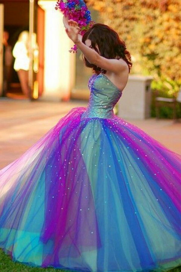Gorgeous Rainbow Colored Dress. How fashionable for girls to wear a gorgeous and colorful dress.