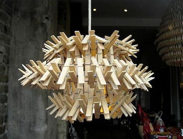 DIY clothespin chandelier.