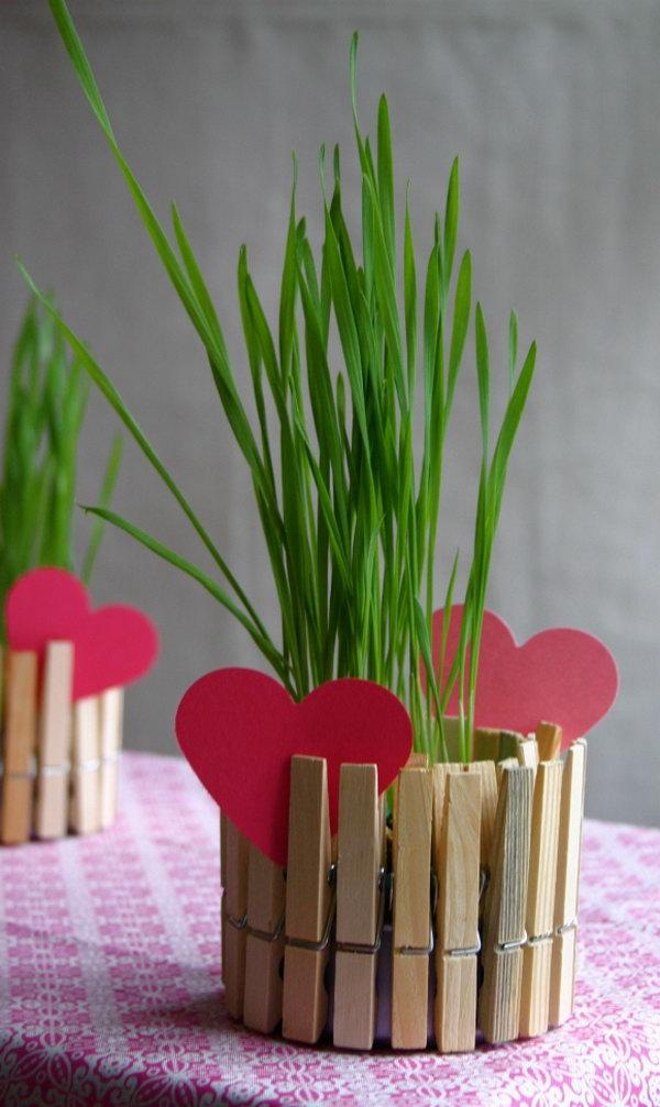 DIY clothespin planters.