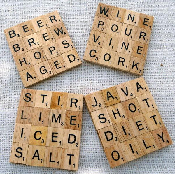 Scrabble Drink Coasters.