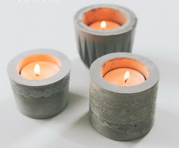 DIY Laced Cement Candle Holder. Concrete isn't just for the infrastructure and base of certain buildings. You can use concrete in a variety of DIY projects, and infuse it into everyday products.