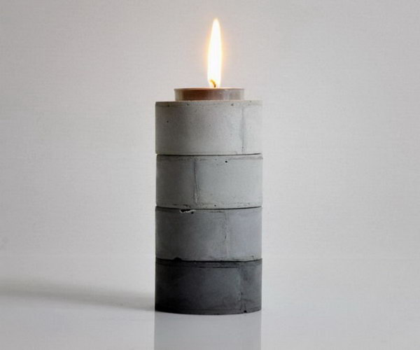 DIY Stackable Gradient Candle Holders. Concrete isn't just for the infrastructure and base of certain buildings. You can use concrete in a variety of DIY projects, and infuse it into everyday products.