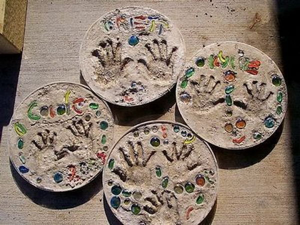 Make Stepping Stones Using Child's Handprint. Concrete isn't just for the infrastructure and base of certain buildings. You can use concrete in a variety of DIY projects, and infuse it into everyday products.