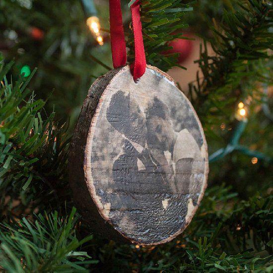 Log Slice Christmas Ornament.