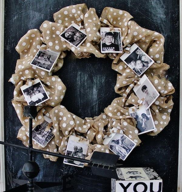 Burlap Photo Wreath.