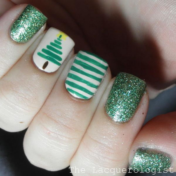 Green Nail Art, which can be combined with patterns of grass, Christmas tree or football. They are fun, creative and easy to make.