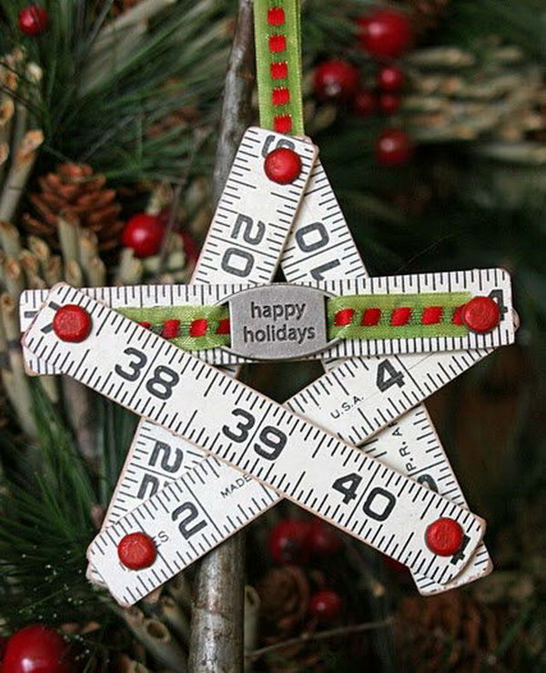 Ruler christmas star ornament. Rulers are not only used to measure things but also can be used to create some creative things. Perfect for back to school or teacher gifts.