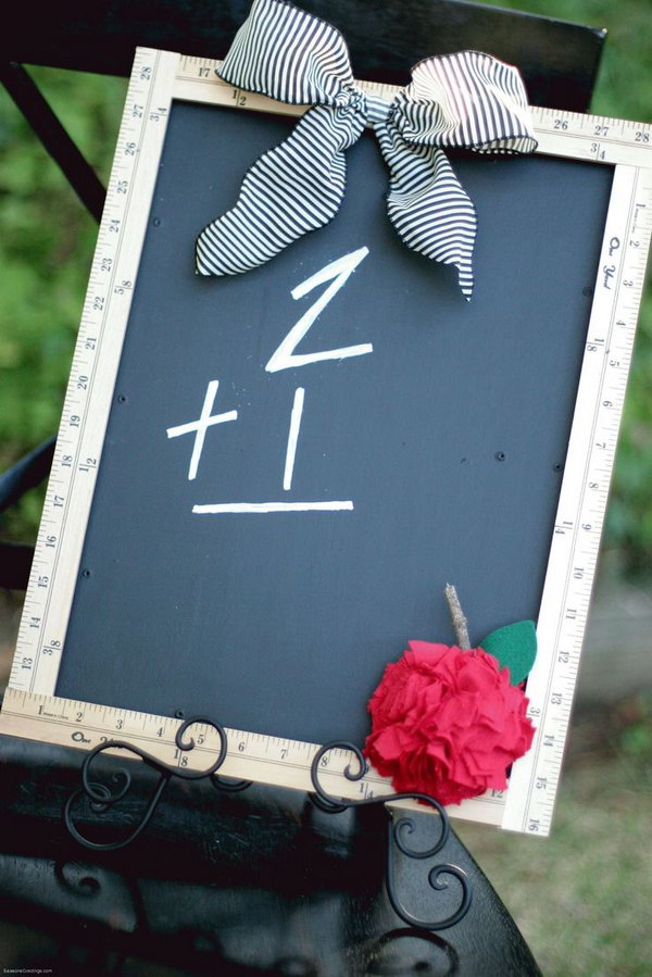 Ruler picture frame. Rulers are not only used to measure things but also can be used to create some creative things. Perfect for back to school or teacher gifts.