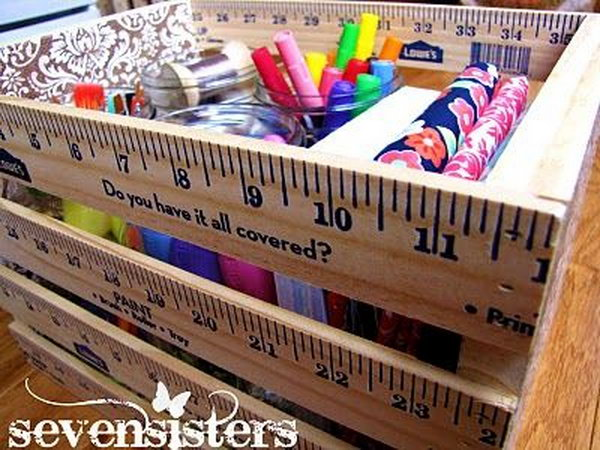 Ruler box as a teacher gift. Rulers are not only used to measure things but also can be used to create some creative things. Perfect for back to school or teacher gifts.