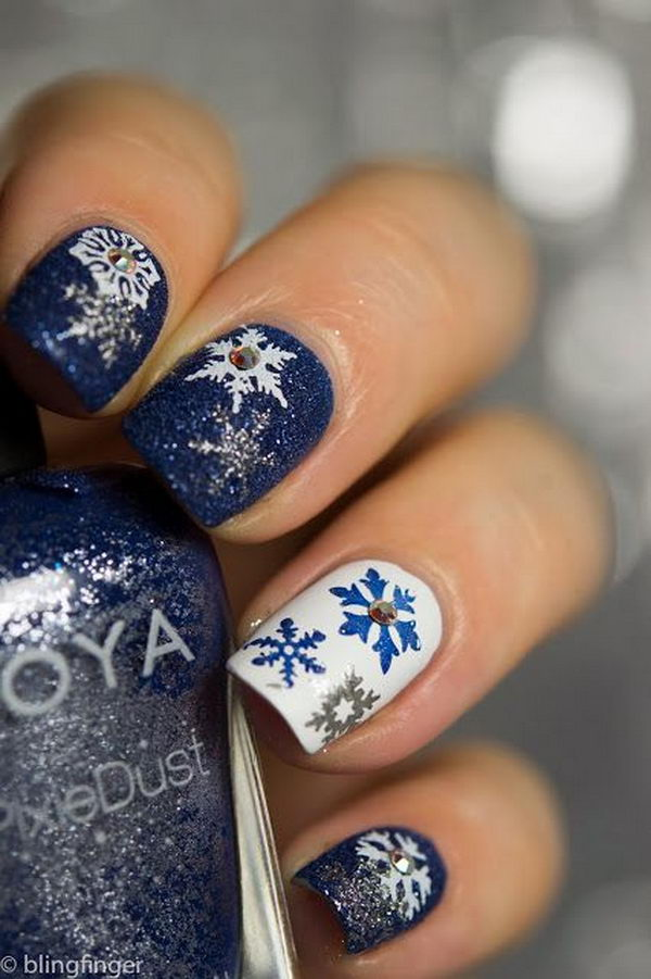 Cool Snowflake Nail Art. As symbols of the winter season, snowflake nail art are wonderful and can instantly make a regular manicure look like a work of art.