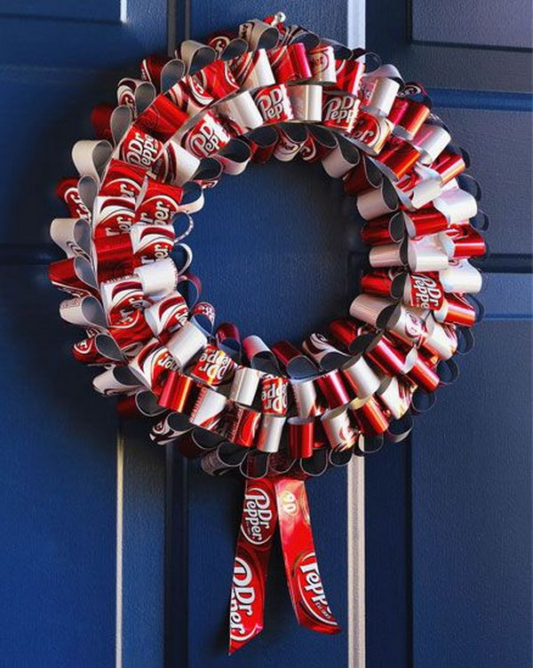 Soda can wreath. After drinking soda from aluminum cans, you can recycle your soda cans to create interesting projects instead of tossing the empty cans into the garbage or recycling bin.