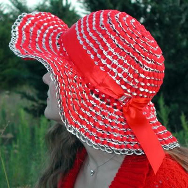 Sun hat made of can tab. After drinking soda from aluminum cans, you can recycle your soda cans to create interesting projects instead of tossing the empty cans into the garbage or recycling bin.
