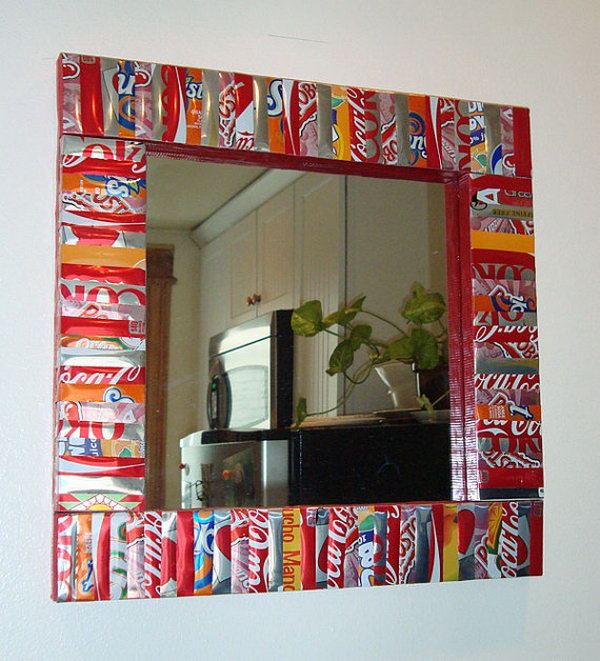 Soda cans framed mirror. After drinking soda from aluminum cans, you can recycle your soda cans to create interesting projects instead of tossing the empty cans into the garbage or recycling bin.