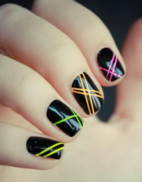 Cool Stripe Nail Art.