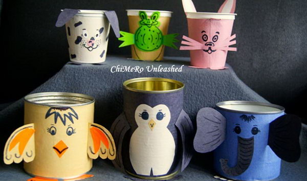 Tin can animals. Tin cans are not just for stacking up in your cabinet, tossing in the trash or sending to the recycle bin. Combine those with a rope, paints, craft papers and a generous helping of crazy imagination, and you will have a cool creation on your hands.