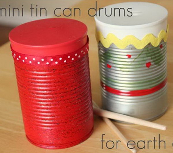 Mini tin can drums. Tin cans are not just for stacking up in your cabinet, tossing in the trash or sending to the recycle bin. Combine those with a rope, paints, craft papers and a generous helping of crazy imagination, and you will have a cool creation on your hands.