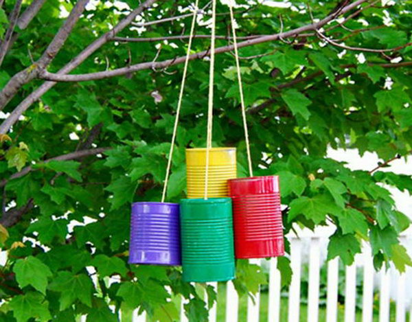Tin can wind chime. Tin cans are not just for stacking up in your cabinet, tossing in the trash or sending to the recycle bin. Combine those with a rope, paints, craft papers and a generous helping of crazy imagination, and you will have a cool creation on your hands.