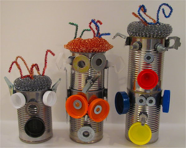 Tin can magnetic robots. Tin cans are not just for stacking up in your cabinet, tossing in the trash or sending to the recycle bin. Combine those with a rope, paints, craft papers and a generous helping of crazy imagination, and you will have a cool creation on your hands.