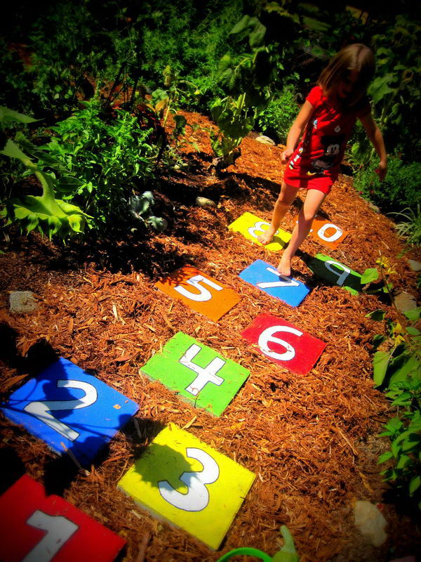 Hopscotch Stepping Stones. Not only functional but also can be used to decorate your garden. Make the walk in your garden more exciting and fun.