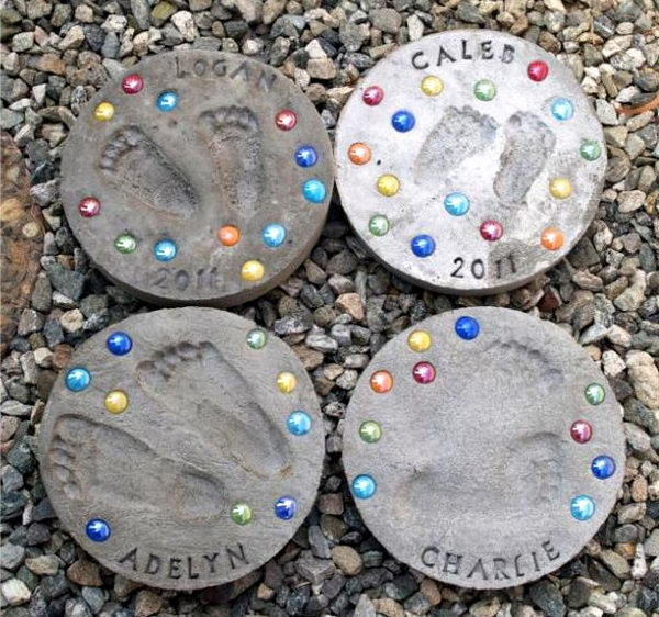 Kid Footprint Stepping Stones. Not only functional but also can be used to decorate your garden. Make the walk in your garden more exciting and fun.