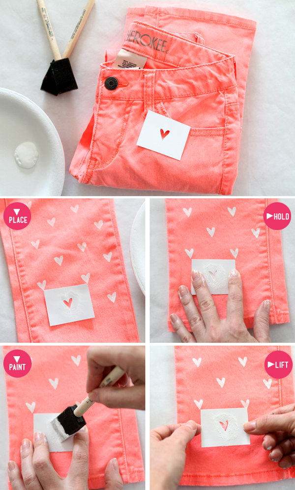 This diy heart painted jeans is great for Valentine's Day, but of course you could do this with any shape.