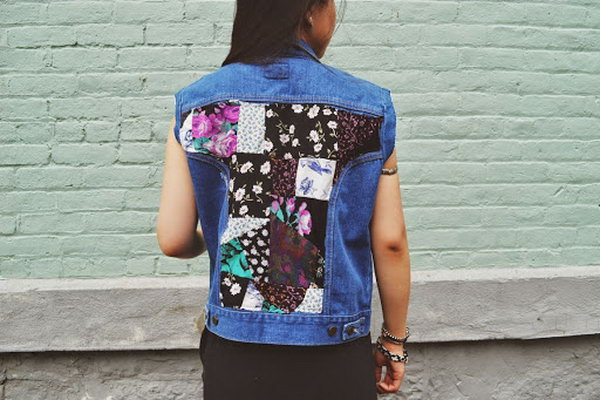DIY Floral Patchwork Denim Vest,
