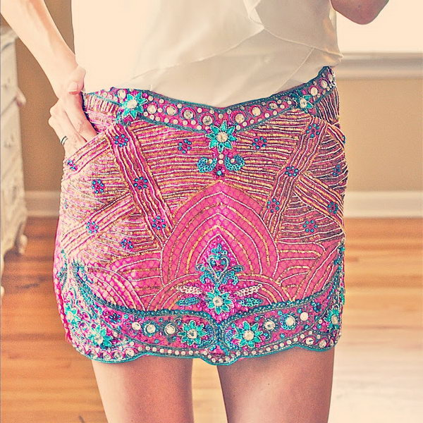 Indian Choli sewn convertible skirt,