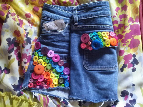 Rainbow Bright Button Shorts. Decorate your old shorts with colored ropes, wire, buttons or zippers, denim, sequins, silk and lace and what ever you like. It is fun and inspiring to make some creative shorts for yourself.