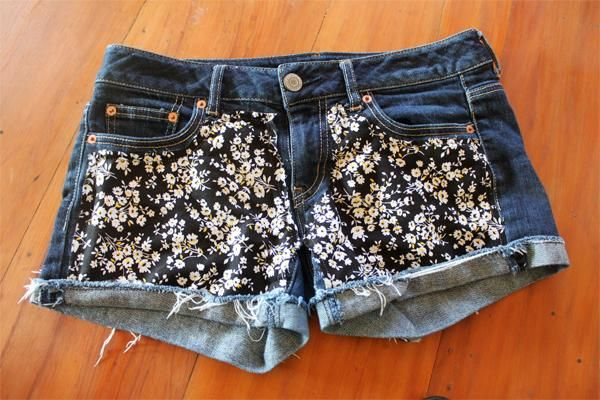 DIY Floral Shorts. Decorate your old shorts with colored ropes, wire, buttons or zippers, denim, sequins, silk and lace and what ever you like. It is fun and inspiring to make some creative shorts for yourself.