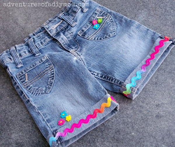 Cuffed Shorts with Ribbon and Buttons. Decorate your old shorts with colored ropes, wire, buttons or zippers, denim, sequins, silk and lace and what ever you like. It is fun and inspiring to make some creative shorts for yourself.