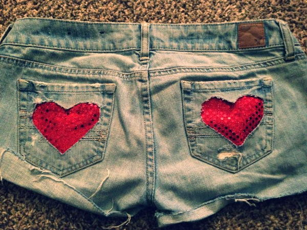 Heart Cut Off Jean Shorts. Decorate your old shorts with colored ropes, wire, buttons or zippers, denim, sequins, silk and lace and what ever you like. It is fun and inspiring to make some creative shorts for yourself.