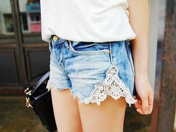 Lace Denim Shorts. Decorate your old shorts with colored ropes, wire, buttons or zippers, denim, sequins, silk and lace and what ever you like. It is fun and inspiring to make some creative shorts for yourself.
