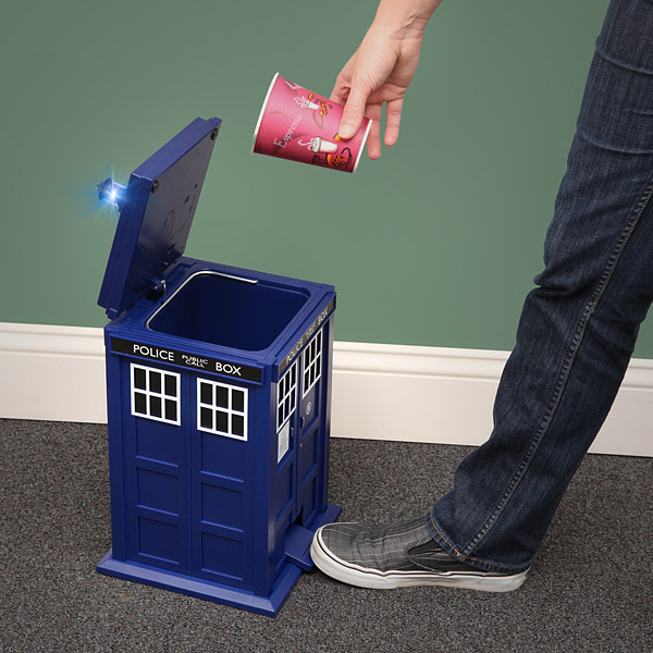 The TARDIS wastebin would make a great gift if you like Doctor Who or not. The best part is that it is sound & light activated when the pedal is pressed.