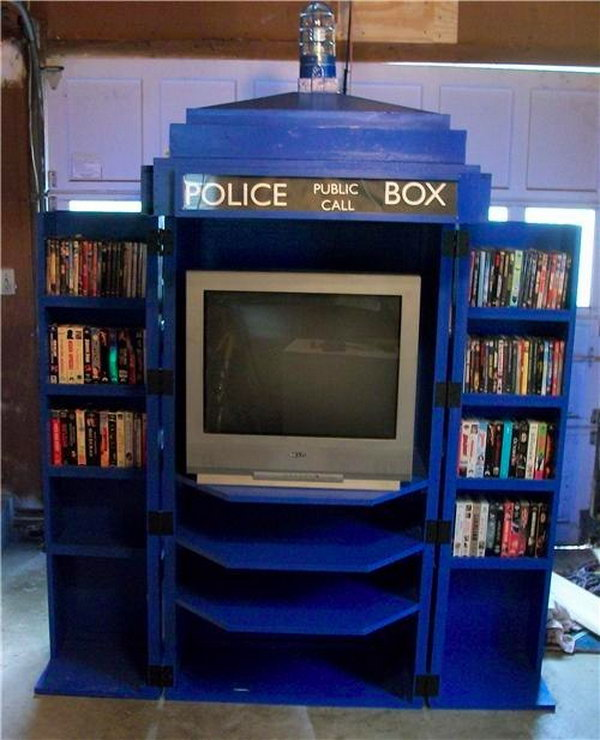 What better way for me to watch the latest adventures of doctor who than on this cool TARDIS inspired TV and DVD cabinet.