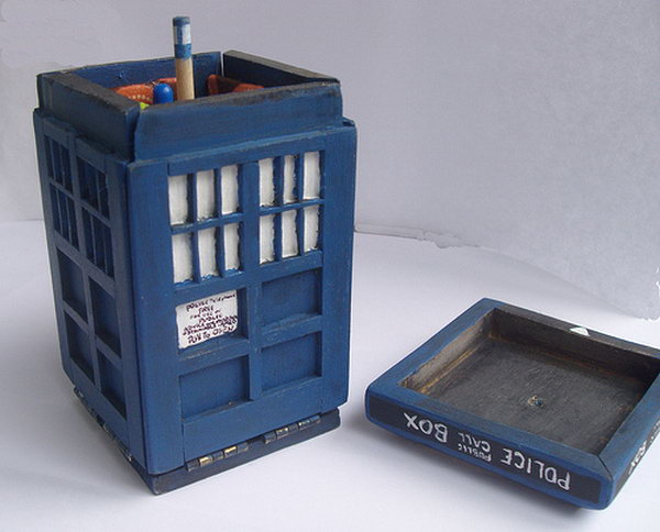 This small TARDIS craft holds a variety of sewing tools and office supplies for you.