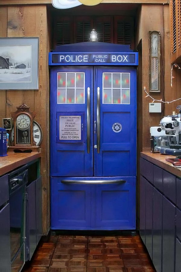Did the Doctor just appear in your kitchen? You can actually purchase a kit to turn your fridge into the TARDIS