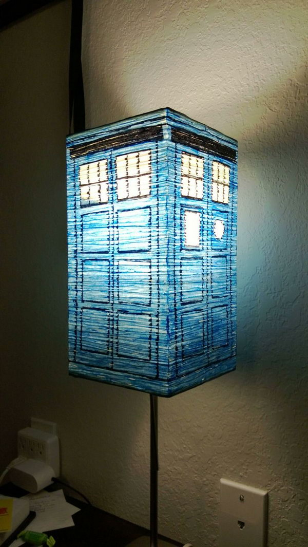 All it takes to create your own TARDIS is a lamp and a sharpie.